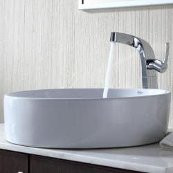 Kraus Bathroom Combo Set White Round Ceramic Sink and Typhon Faucet