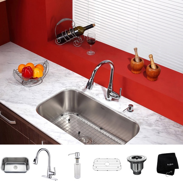 KRAUS 31 1/2 Inch Undermount Single Bowl Stainless Steel Kitchen Sink with Kitchen Faucet and Soap Dispenser