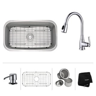KRAUS 31 1/2 Inch Undermount Single Bowl Stainless Steel Kitchen Sink with Kitchen Faucet and Soap Dispenser in Chrome