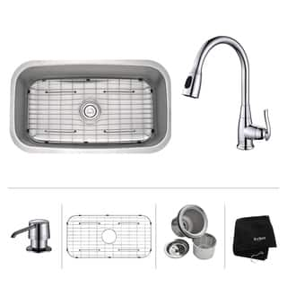 KRAUS 31 1/2 Inch Undermount Single Bowl Stainless Steel Kitchen Sink with Kitchen Faucet and Soap Dispenser|https://ak1.ostkcdn.com/images/products/6172803/P13827228.jpg?impolicy=medium