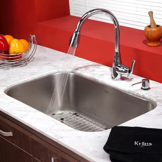 KRAUS Single-Handle Stainless Steel High Arch Kitchen Faucet with Pull Down Dual-Function Sprayer and Soap Dispenser|https://ak1.ostkcdn.com/images/products/6172804/P13827229.jpg?impolicy=medium