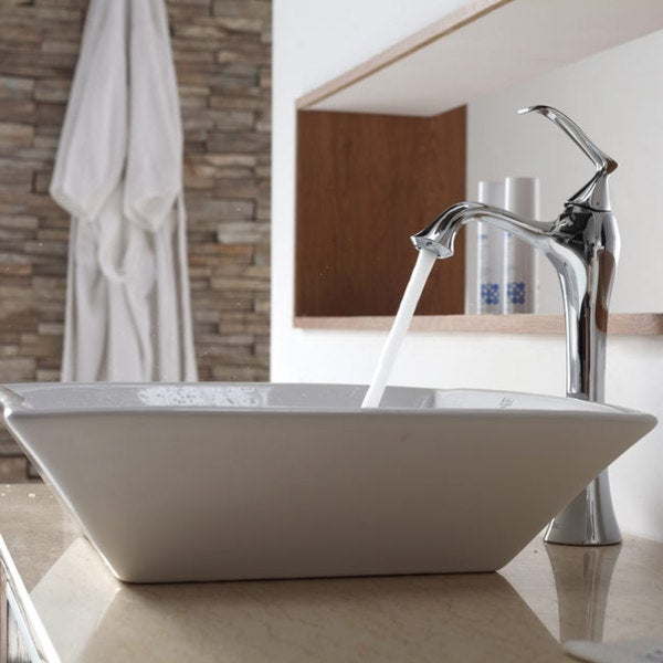 KRAUS Flat Square Ceramic Vessel Sink in White with Ventus Faucet in Chrome