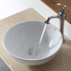 KRAUS Soft Round Ceramic Vessel Sink in White with Ventus Faucet in Chrome - Thumbnail 1