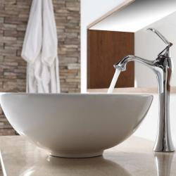 KRAUS Soft Round Ceramic Vessel Sink in White with Ventus Faucet in Chrome