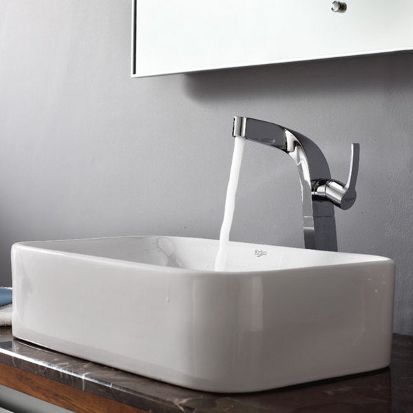 KRAUS Soft Rectangular Ceramic Vessel Sink in White with Typhon Faucet in Chrome