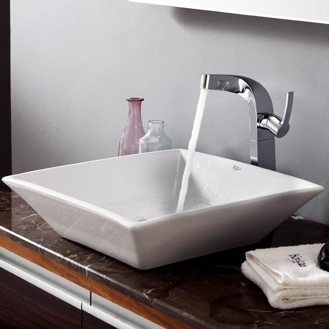 KRAUS Flat Square Ceramic Vessel Sink in White with Typhon Faucet in Chrome