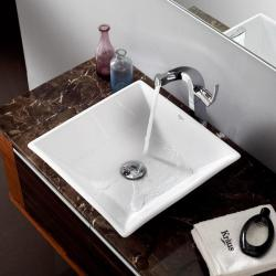 KRAUS Flat Square Ceramic Vessel Sink in White with Typhon Faucet in Chrome - Thumbnail 1