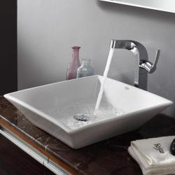 KRAUS Flat Square Ceramic Vessel Sink in White with Typhon Faucet in Chrome - Thumbnail 2
