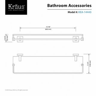 KRAUS Bathroom Accessories - Shelf with Railing in Chrome