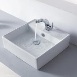 KRAUS Square Ceramic Vessel Sink in White with Typhon Faucet in Chrome - Thumbnail 1