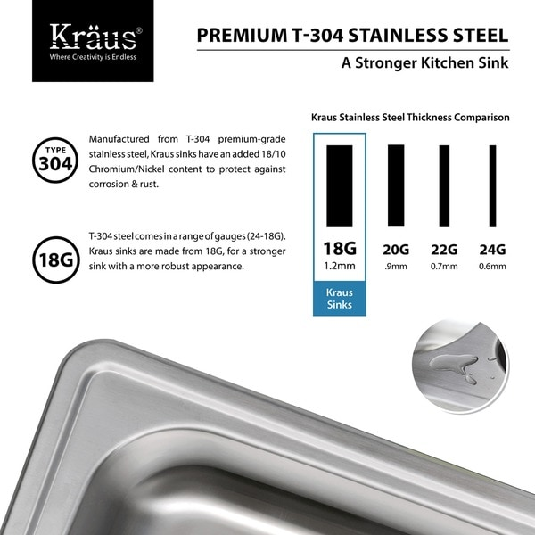 kraus 25inch topmount single bowl 18 gauge stainless steel kitchen sink with noisedefend free shipping today