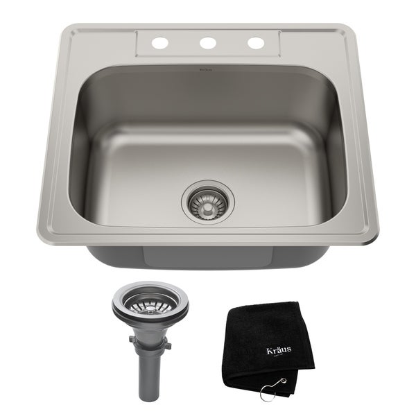 Kraus KTM25 Drop-in 25-in 18G 1-Bowl Satin Stainless Steel Kitchen Sink, NoiseDefend Soundproofing, Strainer, Towel