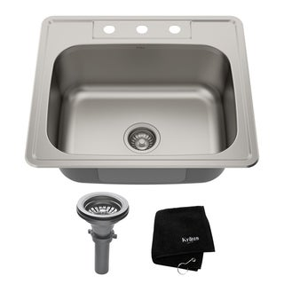 KRAUS 25 Inch Topmount Single Bowl 18 Gauge Stainless Steel Kitchen Sink with NoiseDefend Soundproofing
