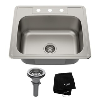 KRAUS 25-inch Topmount Single Bowl 18 Gauge Stainless Steel Kitchen Sink with NoiseDefend Soundproofing