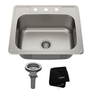 Square kitchen sinks for less overstock kraus 25 inch topmount single bowl 18 gauge stainless steel kitchen sink with noisedefend soundproofing workwithnaturefo