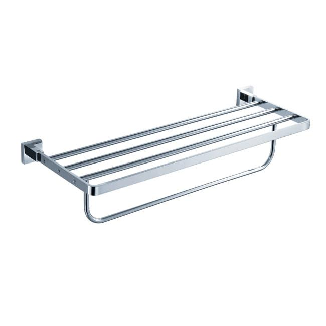 KRAUS Bathroom Accessories - Bath Towel Rack with Towel Bar in Chrome