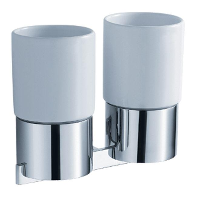 KRAUS Bathroom Accessories - Wall-Mounted Double Ceramic Tumbler Holder in Chrome