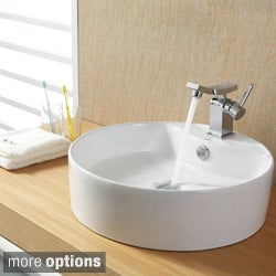 Kraus Bathroom White Round Ceramic Sink and Unicus Basin Faucet Combo Set