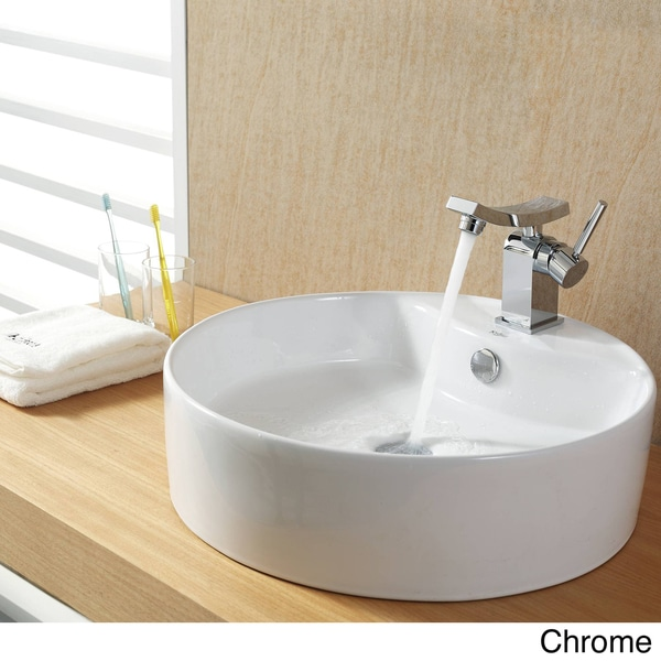 KRAUS Round Ceramic Vessel Sink with Overflow in White with Unicus Basin Faucet in Oil Rubbed Bronze