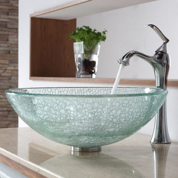 KRAUS Broken Glass Vessel Sink in Clear with Ventus Faucet in Chrome