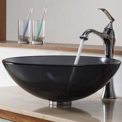KRAUS Glass Vessel Sink in Black with Ventus Faucet in Chrome