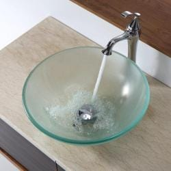 KRAUS Frosted Glass Vessel Sink in Clear with Ventus Faucet in Chrome - Thumbnail 2