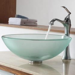 KRAUS Frosted Glass Vessel Sink in Clear with Ventus Faucet in Chrome