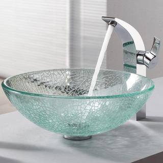 KRAUS Broken Glass Vessel Sink in Clear with Illusio Faucet in Chrome