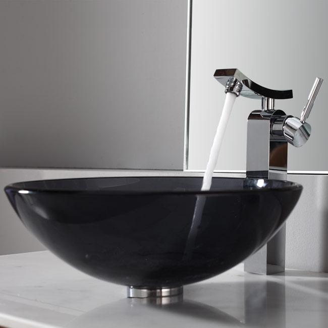 KRAUS Glass Vessel Sink in Black with Unicus Faucet in Chrome