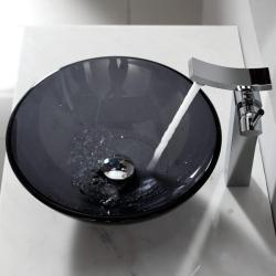 KRAUS Glass Vessel Sink in Black with Unicus Faucet in Chrome - Thumbnail 2