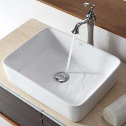 KRAUS Rectangular Ceramic Vessel Sink in White with Ventus Faucet in Chrome - Thumbnail 2
