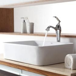 KRAUS Rectangular Ceramic Vessel Sink in White with Ventus Faucet in Chrome