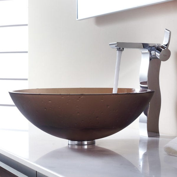 KRAUS Frosted Glass Vessel Sink in Brown with Sonus Faucet in Chrome