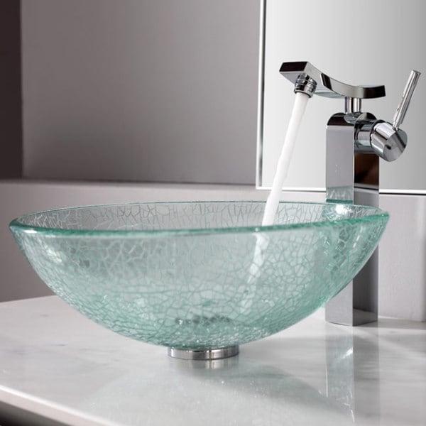 Kraus Bathroom Combo Set Broken Glass Vessel Sink and Unicus Faucet