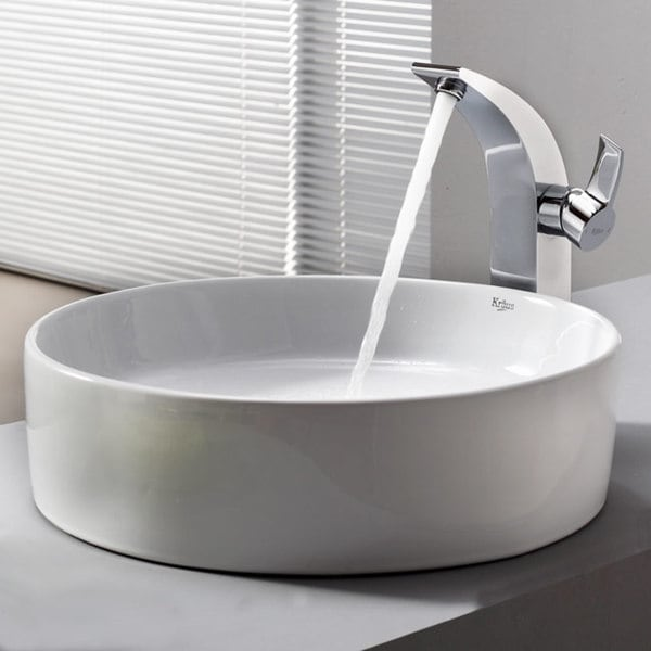 KRAUS Round Ceramic Vessel Sink in White with Illusio Faucet in Chrome