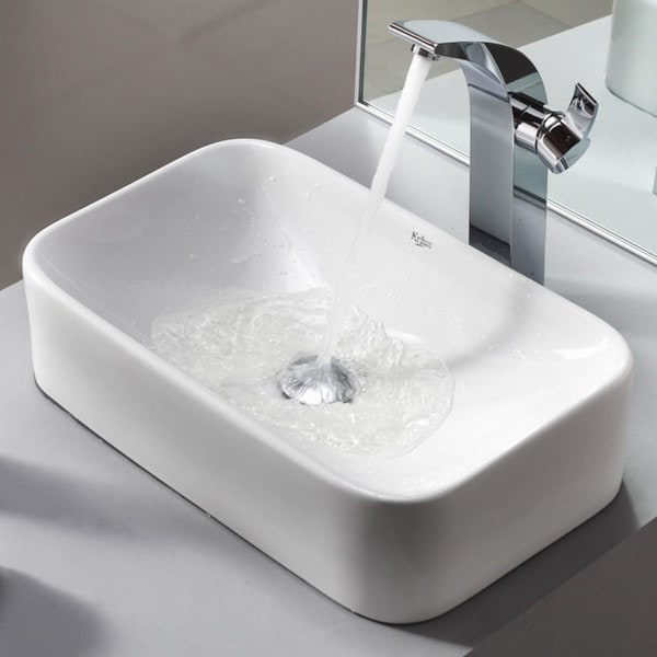 KRAUS Soft Rectangular Ceramic Vessel Sink in White with Illusio Faucet in Chrome