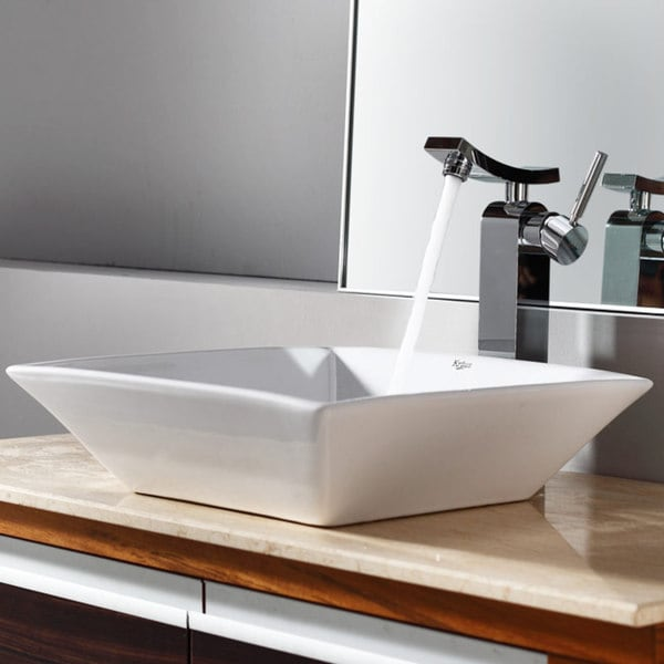 KRAUS Flat Square Ceramic Vessel Sink in White with Unicus Faucet in Chrome
