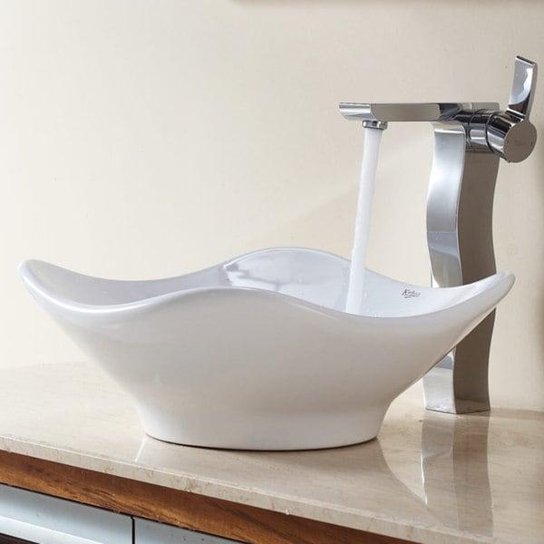 KRAUS Tulip Ceramic Vessel Sink in White with Sonus Faucet in Chrome