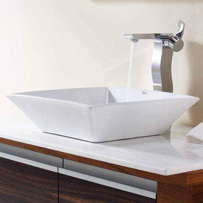 KRAUS Flat Square Ceramic Vessel Sink in White with Sonus Faucet in Chrome