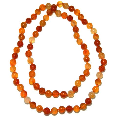 Pearlz Ocean Carnelian Round Beads Knotted Endless Long Necklace