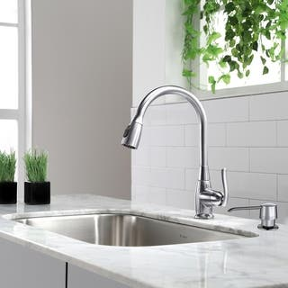 KRAUS Single-Handle Stainless Steel High Arch Kitchen Faucet with Pull Down Dual-Function Sprayer in Chrome|https://ak1.ostkcdn.com/images/products/6172984/P13827383.jpg?impolicy=medium