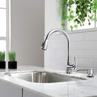 Kraus KPF-2230 High Arch 1-Handle 2-Function Sprayhead Pull Down Kitchen Faucet and Soap Dispensers