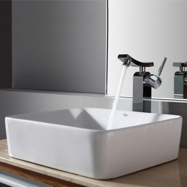 KRAUS Rectangular Ceramic Vessel Sink in White with Unicus Faucet in Chrome