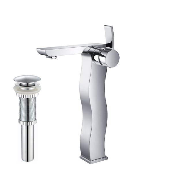 KRAUS Sonus Single Hole Single-Handle Vessel Bathroom Faucet with Matching Pop-Up Drain in Chrome