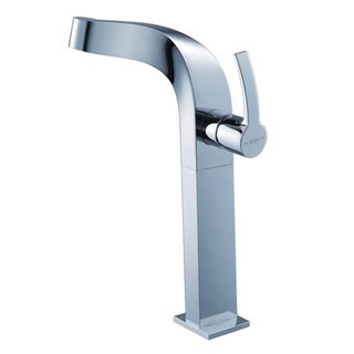 KRAUS Typhon Single Hole Single-Handle Vessel Bathroom Faucet with Matching Pop-Up Drain in Chrome