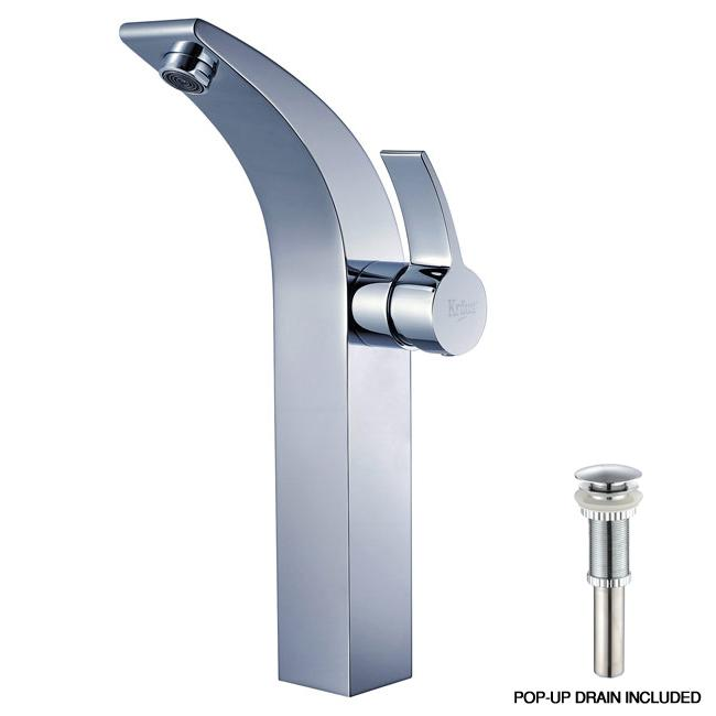 KRAUS Illusio Single Hole Single-Handle Vessel Bathroom Faucet with Matching Pop-Up Drain in Chrome