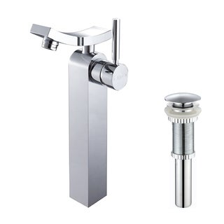 KRAUS Unicus Single Hole Single-Handle Vessel Bathroom Faucet with Matching Pop-Up Drain in Chrome