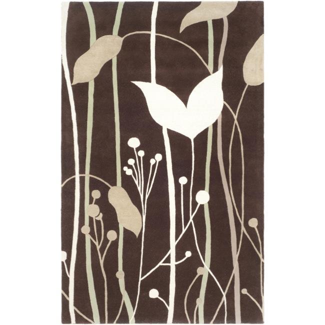 Safavieh Handmade Gardens Dark Brown New Zealand Wool Rug (3'6 x 5'6')