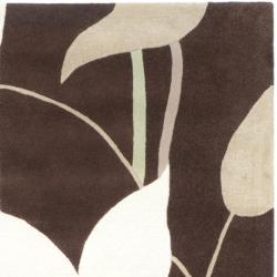 Safavieh Handmade Gardens Dark Brown New Zealand Wool Rug (3'6 x 5'6') - Thumbnail 1