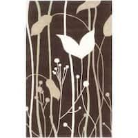 Safavieh Handmade Gardens Dark Brown New Zealand Wool Rug - 3'6 x 5'6